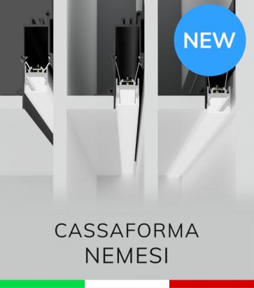 """Cassaforma da Incasso """"Nemesi"""" e Profilo in alluminio Ares con Clip di fissaggio"""