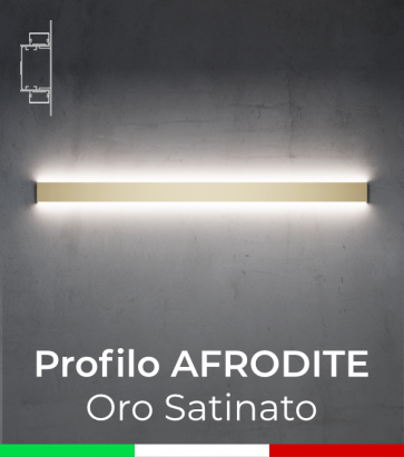 """Profilo in Alluminio da Parete """"Afrodite"""" per Strisce LED - Oro Satinato"""