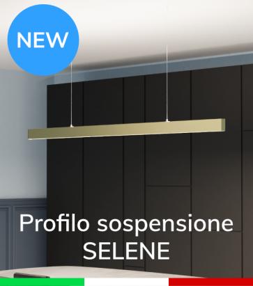 """Profilo in Alluminio da Sospensione """"Selene"""" per Strisce LED - Oro Satinato"""