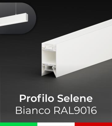 """Profilo in Alluminio da Sospensione """"Selene"""" per Strisce LED - Verniciato Bianco RAL9016"""
