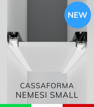 """Cassaforma da Incasso """"Nemesi Small""""  e Profilo in alluminio Ares con Clip di fissaggio"""