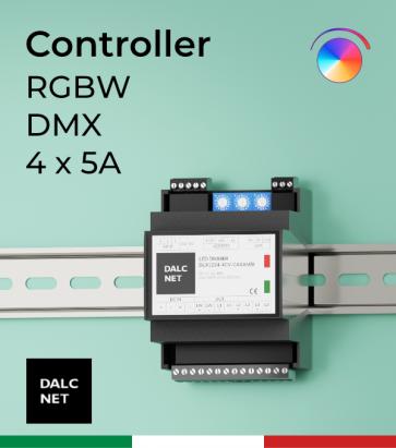 Dimmer DALCNET PRO DLD1248-4CV-DMX  - 12V/24V/48V - Multifunzione - Barra DIN