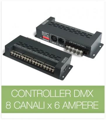 Controller DMX 8 CANALI x 6 Ampere per strisce LED