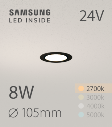 Faretto da Incasso Rotondo Slim 8W Nero LUCE CALDA - Downlight - LED Samsung