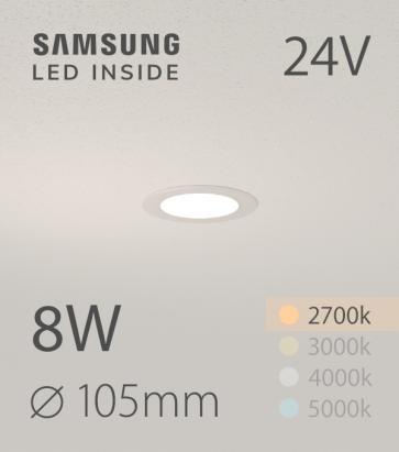 Faretto da Incasso Rotondo Slim 8W LUCE CALDA - Downlight - LED Samsung