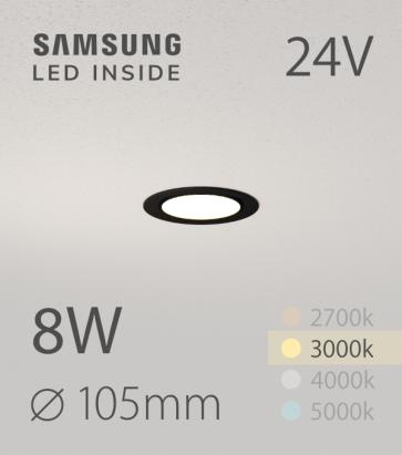 Faretto da Incasso Rotondo Slim Nero 8W BIANCO CALDO - Downlight - LED Samsung