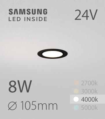 Faretto da Incasso Rotondo Slim Nero 8W BIANCO NATURALE - Downlight - LED Samsung