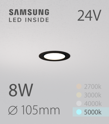 Faretto da Incasso Rotondo Slim Nero 8W BIANCO FREDDO - Downlight - LED Samsung