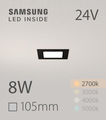 Faretto da Incasso Quadrato Slim Nero 8W LUCE CALDA - LED Samsung