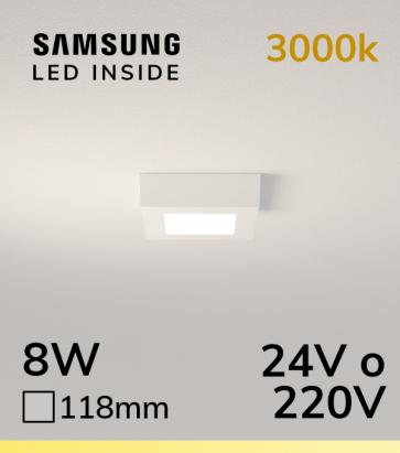 Plafoniera LED Quadrata 8W BIANCO CALDO - LED Samsung
