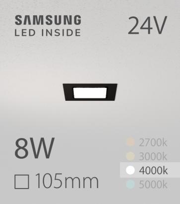 Faretto da Incasso Quadrato Slim Nero 8W BIANCO NATURALE - Downlight - LED Samsung