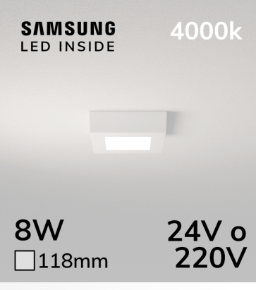Plafoniera LED Quadrata 8W BIANCO NATURALE - LED Samsung