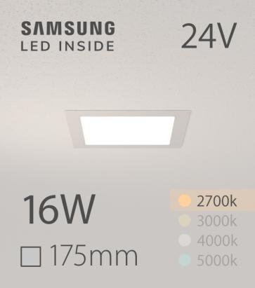 Faretto da Incasso Quadrato Slim 16W LUCE CALDA - Downlight - LED Samsung