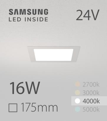 Faretto da Incasso Quadrato Slim 16W BIANCO NATURALE - Downlight - LED Samsung