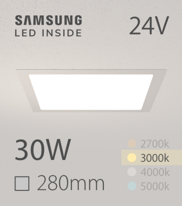 Faretto da Incasso Quadrato Slim 30W BIANCO CALDO - Downlight - LED Samsung