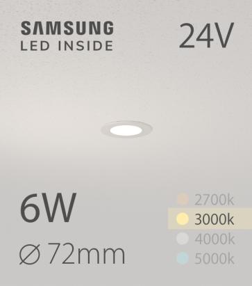 Faretto da Incasso Rotondo Slim 6W BIANCO CALDO - Downlight - LED Samsung