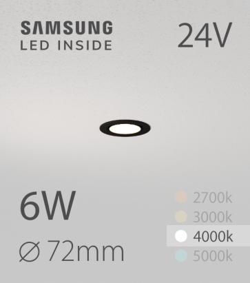 Faretto da Incasso Rotondo Slim Nero 6W BIANCO NATURALE - Downlight - LED Samsung
