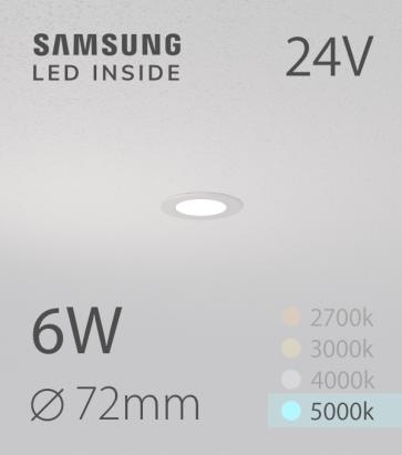 Faretto da Incasso Rotondo Slim 6W BIANCO FREDDO - Downlight - LED Samsung