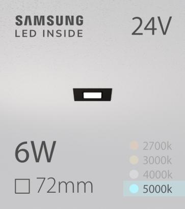 Faretto da Incasso Quadrato Slim Nero 6W BIANCO FREDDO - Downlight - LED Samsung