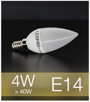 Lampadina LED  E14 4W Candela con base in ceramica - Bianco CALDO