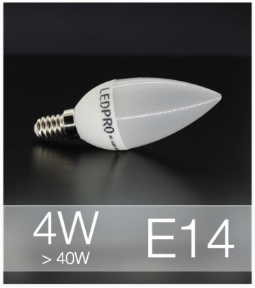 Lampadina LED  E14 4W Candela con base in ceramica - Bianco NATURALE