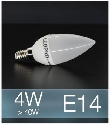 Lampadina LED  E14 4W Candela con base in ceramica - Bianco FREDDO