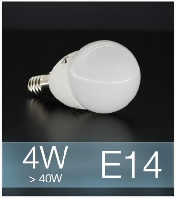 Lampadina LED  E14 4W Globo con base in ceramica - Bianco FREDDO