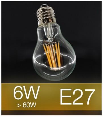 Lampadina LED Filamento E27 6W Bulbo (60W) - 2700K Bianco CALDO