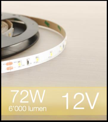 "Striscia LED 2835 ""ECO"" - 5 Metri - 72W - SMD2835 BIANCO CALDO 60 LED/m"
