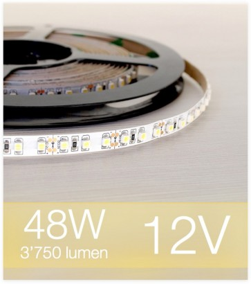 "SUPER OFFERTA: Striscia LED ""ECO"" - 5 Metri - 48W - 600 LED SMD3528 BIANCO CALDO"