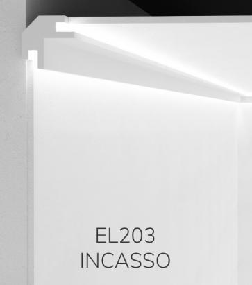 Cornice per LED da Incasso ELENI LIGHTING EL203 - Profilo Angolare con Luce Bi-Direzionale per Angolo tra Soffitto e Parete
