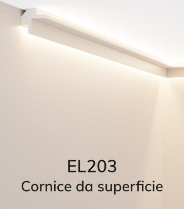 Cornice per LED ELENI LIGHTING EL203 - Profilo Angolare con Luce Bi-Direzionale per Angolo tra Soffitto e Parete