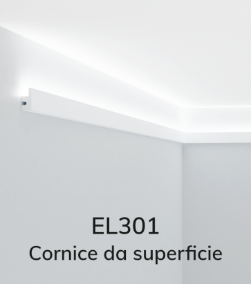 Cornice per LED da Superficie ELENI LIGHTING EL301 LARGE  - Profilo Piano con Luce Unidirezionale per Soffitto o Parete