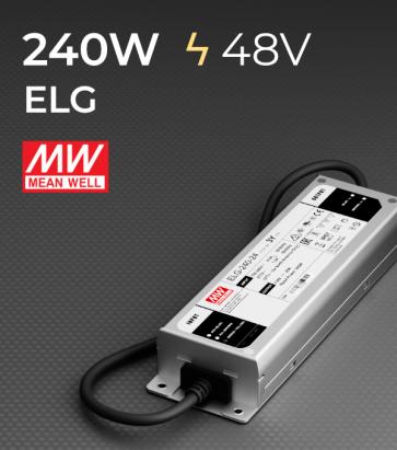 Alimentatore Meanwell ELG-240-48 48V 240W Resistente all'acqua, Versione Standard, A, B, AB e DALI
