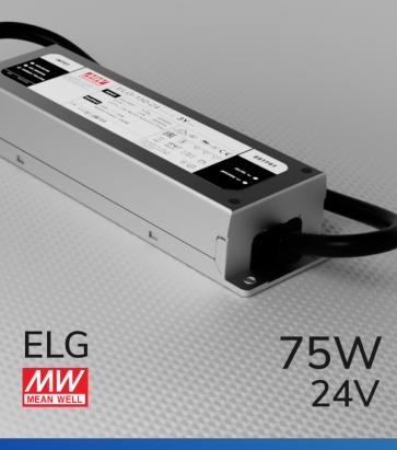Alimentatore Meanwell ELG-75-24 24V 75W Resistente all'acqua, Versione Standard, A, B e DALI