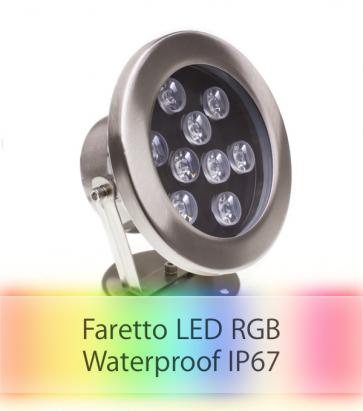 Faretto LED RGB per Esterno - 9W - Resistente all'acqua IP67