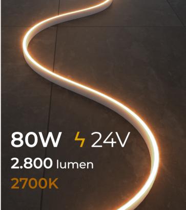 Striscia LED FLEX - 5 Metri - 80W - SMD2835 120 LED/m - LUCE CALDA - 2700K - IP65