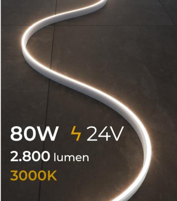 Striscia LED FLEX - 5 Metri - 80W - SMD2835 120 LED/m - Bianco CALDO - 3000K - IP65