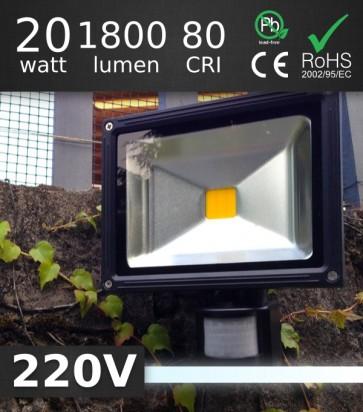 FARO LED 20W da Esterno con rilevatore di presenza - BIANCO FREDDO