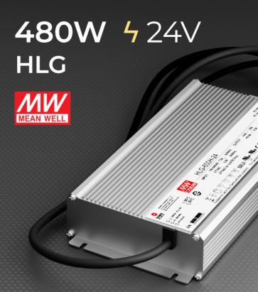 Alimentatore Meanwell HLG-480H-24 24V 480W  Resistente all'acqua - Versione Standard, A e B