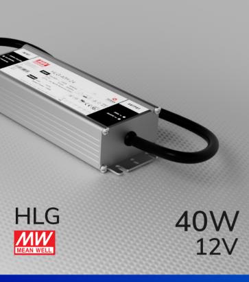 Alimentatore Meanwell HLG-40H-12 12V 39.96W  Resistente all'acqua - Versione Standard, A e B