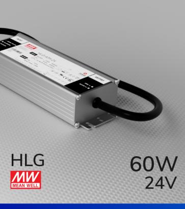 Alimentatore Meanwell HLG-60H-24 24V 60W  Resistente all'acqua - Versione Standard, A e B