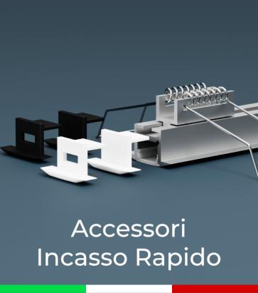 Accessori per Profilo in Alluminio da Incasso Rapido - Clip a molla, Tappi chiusi o forati