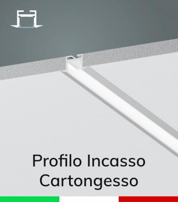 Profilo in Alluminio da Incasso Rapido nel Cartongesso per Strisce LED - Ossidato ARGENTO