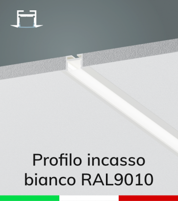 Profilo in Alluminio da Incasso Rapido nel Cartongesso per Strisce LED - Verniciato BIANCO