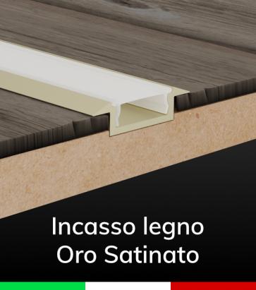 """Profilo in Alluminio Piatto da Incasso 03 """"Slim"""" per Strisce LED - Oro Satinato"""