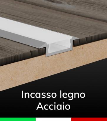 """Profilo in Alluminio Piatto da Incasso 03 """"Slim"""" per Strisce LED - ACCIAIO Lucido"""