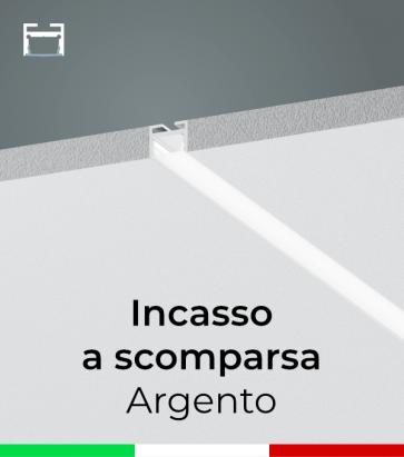 Profilo in Alluminio da Incasso a Scomparsa nel Cartongesso per Strisce LED - Ossidato ARGENTO