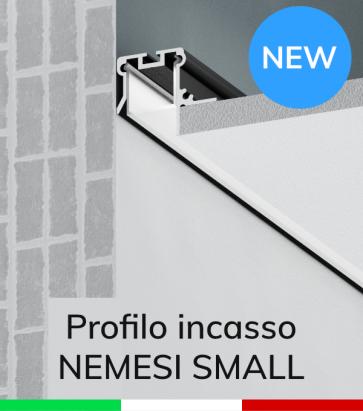 """Profilo in Alluminio da Incasso nel cartongesso """"Nemesi Small"""" - Ossidato Nero"""
