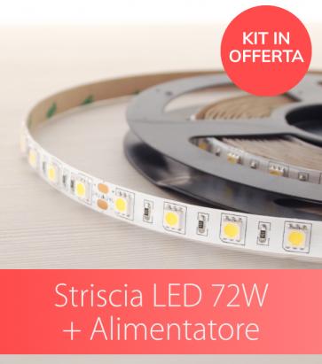 KIT Striscia LED PRO SMD5050 60led/m 72W + Alimentatore